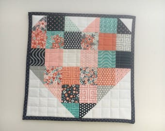 Sweet Marion Sweetheart Patchwork Mini Quilt, Wall Hanging