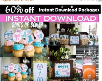 60% OFF Boots or Bows Gender Reveal Party Package, over 100 items, Instant Download, Boy or Girl?  Baby shower printables, Package, Sale, Do