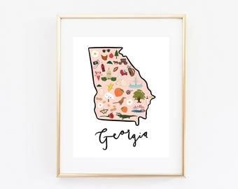 Illustrated Georgia Art Print, Georgia Decor