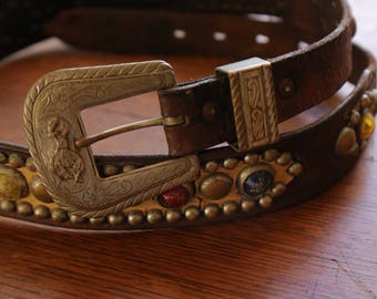 Vintage 1940s 1950s Jeweled Leather Cowboy Western Rockabilly studded Belt Rodeo Buckle