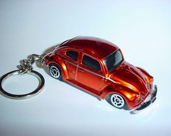 3D Volkswagen Beetle custom keychain by Brian Thornton keyring key chain finished in copper color trim stock VW trim bug