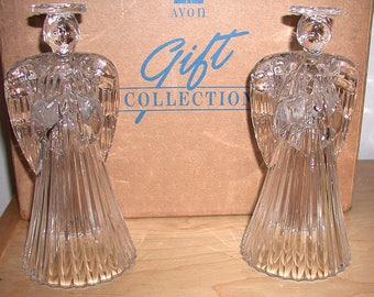 Glowing Angel Crystal Candlesticks: Avon Gift Collection 1992. Christmas decoration