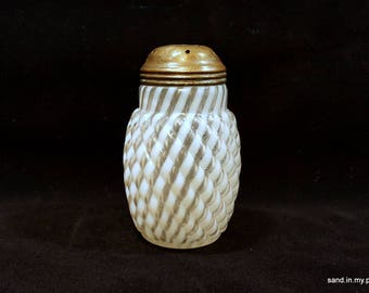 Victorian sugar shaker reverse swirl muffineer EAPG white clear glass possibly made by Buckeye Glass Co