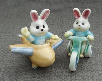 Cute WHITE RABBIT Vintage FIGURINES...Bunny Playing With Toys Ornament...Plane & Trike Rabbit Figurine...Adorable Retro Kitsch!