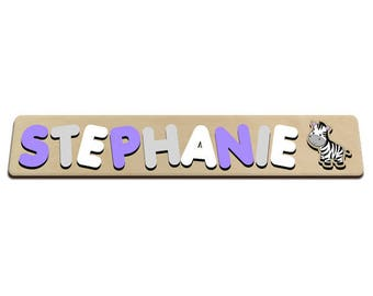 Jungle Friends Personalized Wooden Name Puzzle With A Zebra Purple, Grey & White Personalized Gift for Girl 572411386