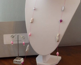 Long Pearl Necklace, Pink Pearl Necklace, Contemporary Pearl Jewellery, Pink Pearl Earrings