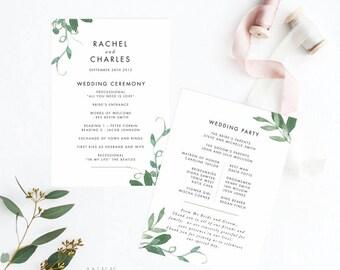 Printable Wedding Program Printable- Modern Botanical  Wedding Program - Wedding Reception Program Fan - Letter or A4 Size (Item code: P175)