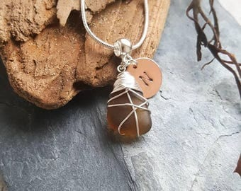 Personalised Amber Seaglass Necklace