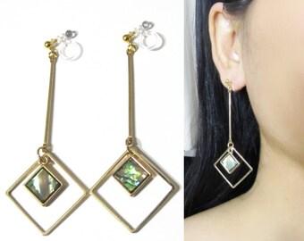 Square Abalone Shell Hoop Clip On Earrings |34C| Gold Dangle Clip On Earrings, Non Pierced Clip-ons, Invisible Bar Long Clip Earrings