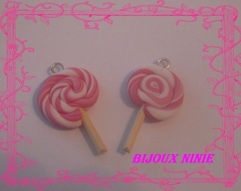 2 pink rolled polymer clay lollipop charm