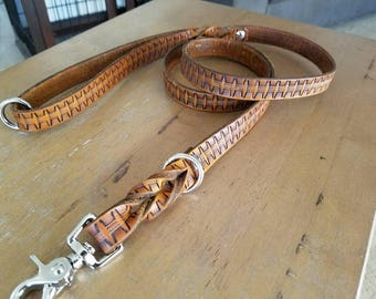 Western Stamped Leather Leash--4.5 ft