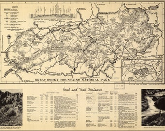 Poster, Many Sizes Available; Map Of Great Smoky Mountains National Park 1940
