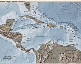 Poster, Many Sizes Available; Map Of Central America And The Caribbean 2002