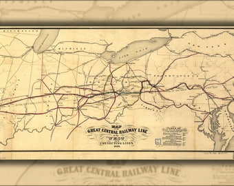 Poster, Many Sizes Available; Map Great Central Railroad Ohio Pennsylvania 1854