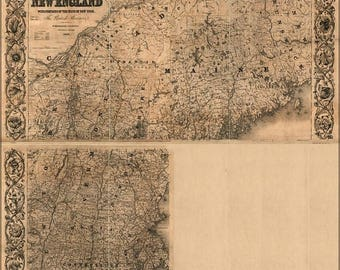 40% OFF SALE Poster, Many Sizes Available; Railroad Map Of New Hampshire Vermont Maine 1852