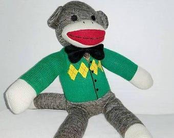 Vintage Sock Monkey,Crochet Monkey,Argyle Sweater,Sock Monkey,Vintage Plushie,Vintage Toys,Classic Toys,Vintage Stuffed Animals,Monkey,Plush