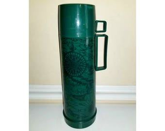 Vintage Green Thermos, Compass Thermos ,Insulated Hot Cold Thermos, Coffee Drink Carrier, Retro Thermos, Map Thermos, 1970s