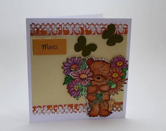 "Thank you ""Thank you"" card and his teddy bear handmade"
