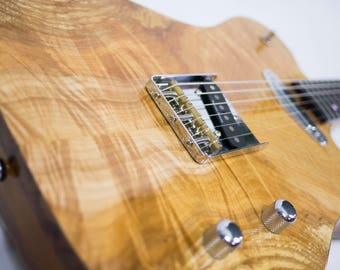 Flame/Spalted Maple Telecaster-Style Electric Guitar with Walnut Binding & Ebony/Maple/Bloodwood Neck