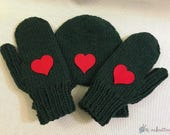 Hand Knit Smitten Red Hearts, Hand Holding Mitten for Two, Lovers Mitten Winter Knit, Couples Mitten, Warm Knit Mittens