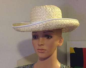 Vintage Hat by Mr John Classic Ladies Off White Straw Derby Hat with Patent Trim Band