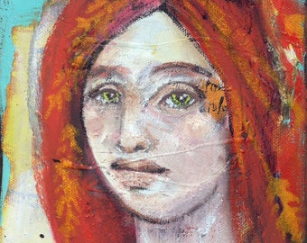 Whimsical art, original art, oil painting, woman art, small painting, contemporary art, one of a kind art, modern art, red haired girl, art