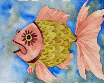 Whimsical art, fish art, original art, watercolor painting, one of a kind art, colorful art, goldfish, whimsical animal art, fish, feng shui