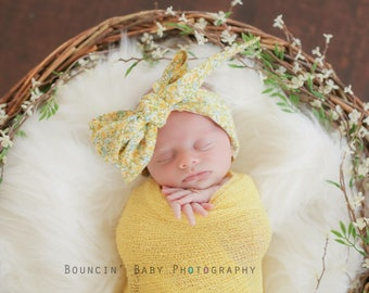 MUSTARD BLOOM Gorgeous Wrap- headwrap; fabric head wrap; floral head wrap; boho; newborn headband; baby headband; toddler headband