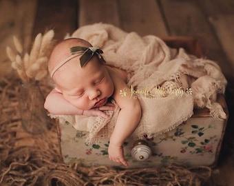 LAUREL VINTAGE VELVET Skinny Hand-tied Bow (Headband or Clip)- velvet bow headband; velvet bow; newborn headband; baby headband; bow