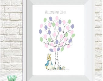 Baby shower fingerprint tree Peter Rabbit personalised,guest book, christening,Birthday,  gift, nursery decor, A4 print