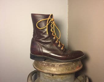 Vintage western black cherry Justin lace up roper boots/Leather laces/Size:8