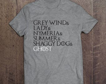 Gray Wind + Lady + Nymeria + Summer + Shaggy Dog + Ghost - Game of Thrones T-shirt