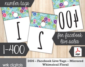 Dot Dot Smile Facebook Live Numbers, Mirrored Image 1-400, Whimsical Floral Design, Fashion Consultant, Direct Sales, INSTANT DOWNLOAD