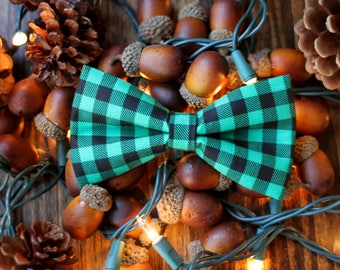 Green Buffalo Plaid Bow Tie, Dog Bow Tie, Kids Bow Tie, Christmas, Mens Bow Tie, Gift for Him, Holiday Photo, Winter, Lumberjack