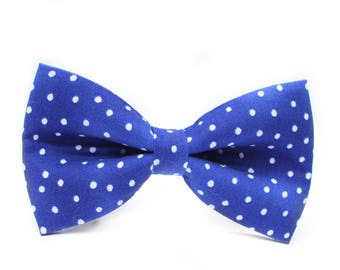 Blue Polka Dot Bow Tie | Mens Wedding Bow Tie | Mens Bow Tie | Toddler Bow Tie | Boys Bow Tie | Dog Bow Tie | For Him | Groomsmen