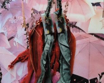 """Earrings """"Path of Asia"""" mother of Pearl, resin, sari Silk Ribbon"""