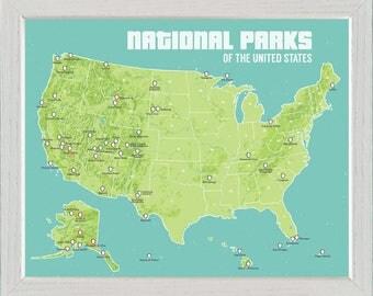 US National Parks Map FRAMED 11x14 Print
