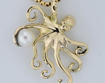 14k octopus pendant with white or black pearl