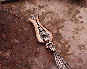 Tulip pendant silver artisan necklace