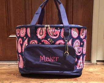 Paisley Print Extra Large Soft-Sided Cooler - Monogrammed Cooler Tote Bag -  Personalized Insulated Cooler -