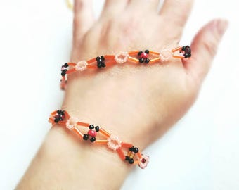 Orange beaded necklace set handmade jewelry seed beads bracelet gift for her for Mom unique beaded necklace orange gold yellow beaded set