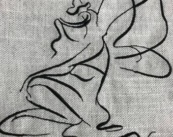 Borsa riutilizzabile  shopper con manici lunghi in misto lino con fata ricamata grigio melange per la spesa ecologica regalo per vegano
