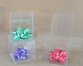 """Clear Favor Boxes, Clear Boxes, Party Favor Boxes, Clear Plastic Boxes, Wedding Favor Boxes, Christmas Gift Boxes, 50/pack 3x3x3"""""""