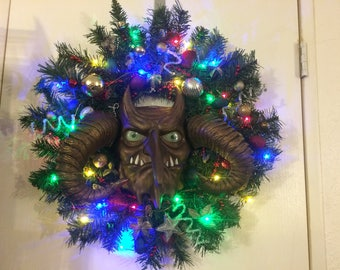 Krampus, Christmas, wreath, Christmas wreath, demon of Christmas, horned Krampus, Alt Santa, Krampus wreath, devil, Krampus Wreath, Sale