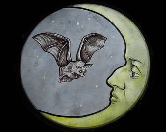 """Arts and Crafts, Victorian, Medieval, """"The Bat and The Moon"""", Stained Glass Suncatcher"""
