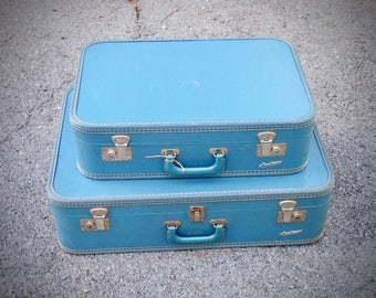 Vintage Carilite Suitcases, Set of Two