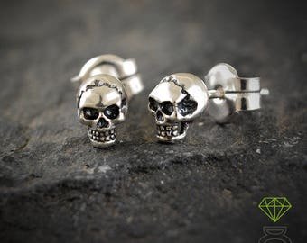Silver Tiny Skulls Earrings, Silver Skull, Skull earring, SterlingSilver Earrings