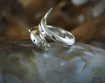 Dolphin Ring Sterling Silver Dolphin Totem Dolphin Beach Ring Boho Style Sea Jewelry Gift for her