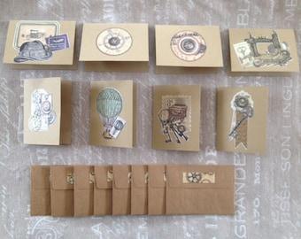 Set of 8 small cards vintage + envelopes - set # 2 & 3
