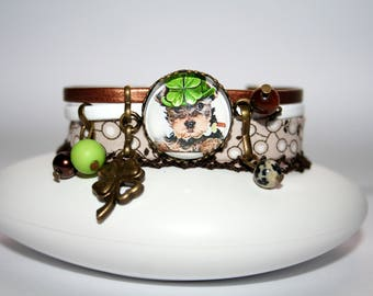 Cuff Bracelet Liberty Yorkshire with Hat and one in shades of Brown, white and green 4 leaf clover